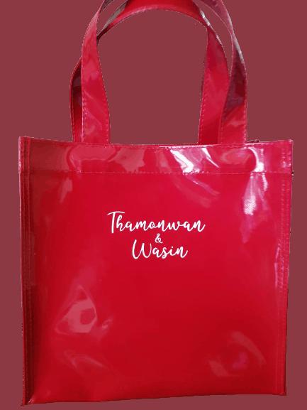 ผลิตกระเป๋าผ้าแก้ว สีแดง